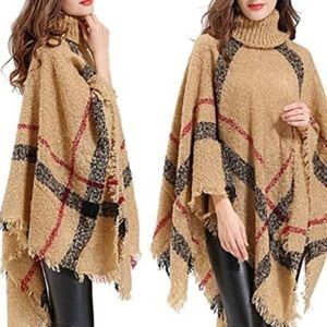 Burberry Patterned Cape-Sleeved Turtleneck Poncho